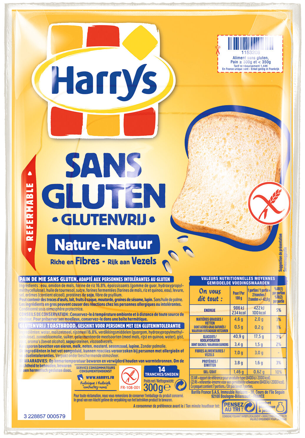 Pain de mie nature sans gluten - Product