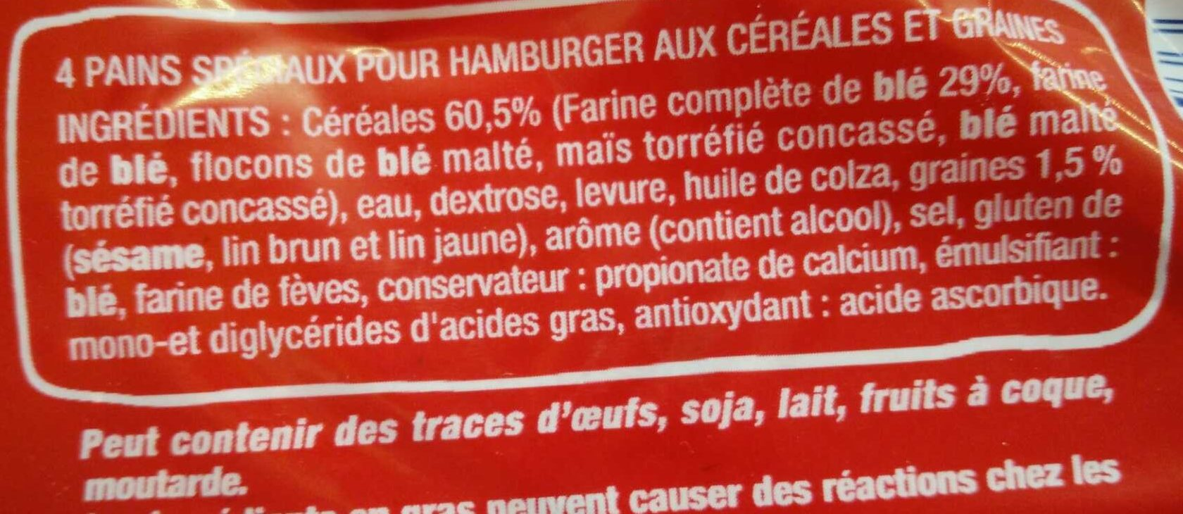 Burger céréales et graines - Ingrediënten - fr