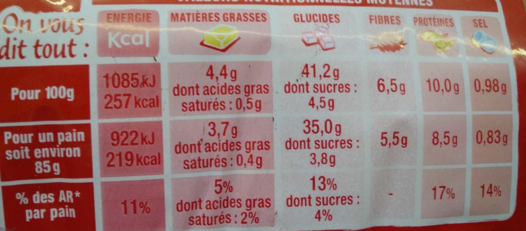 Burger céréales et graines - Voedingswaarden - fr