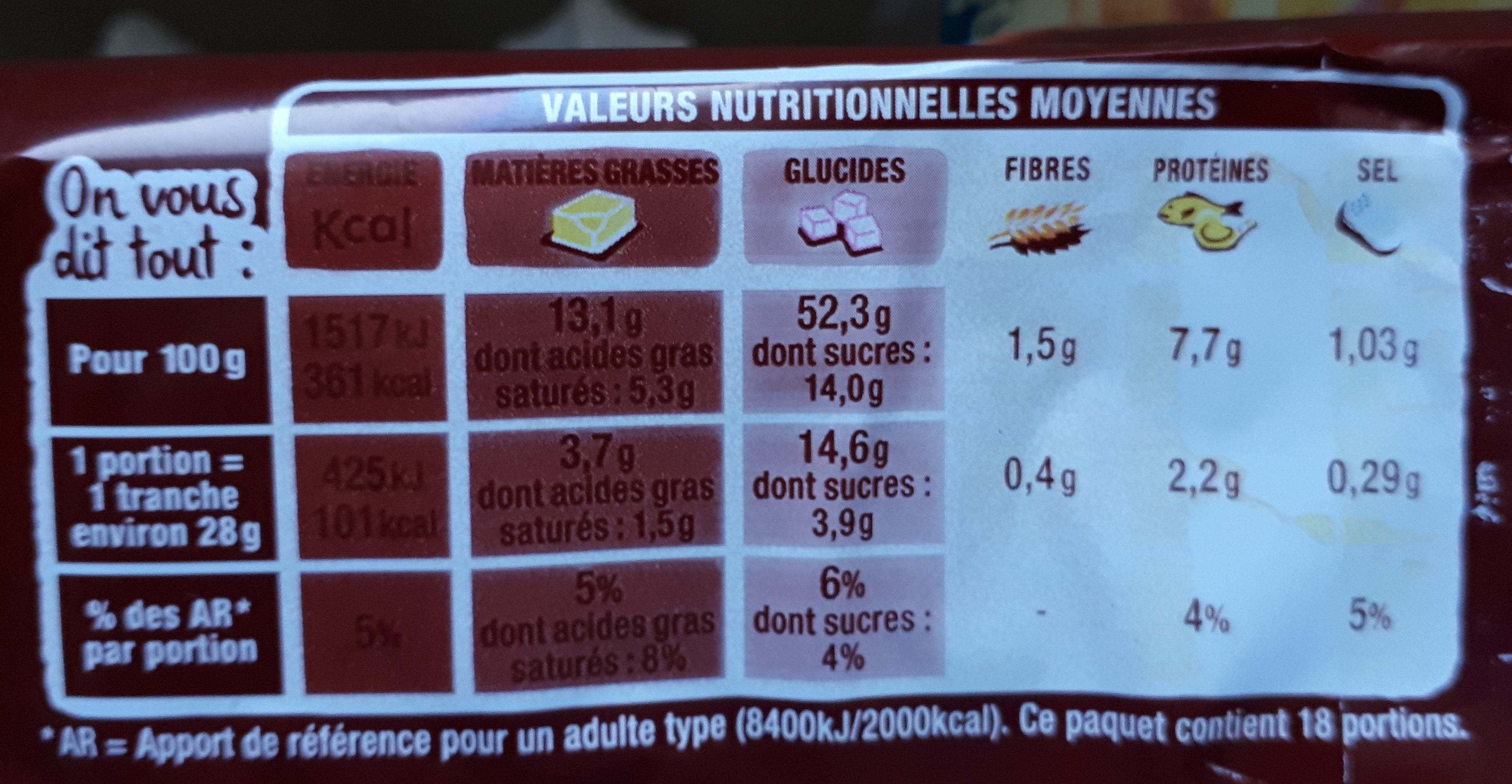 Lot 2 brioches tranchées nature - Nutrition facts - fr