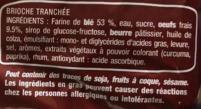 Brioche tranchée nature - Ingredients - fr