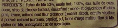 Brioche Tressée Tranchée - Ingredients - fr