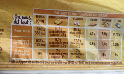 Brioche Tressée Tranchée - Nutrition facts - fr