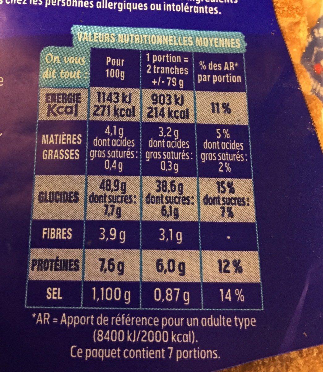 Harrys pain de mie american sandwich nature - Informations nutritionnelles - fr