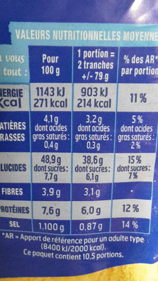 Pain AMS nature - Nutrition facts - fr
