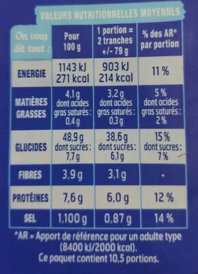 Pain AMERICAN Sandwich nature - Nutrition facts