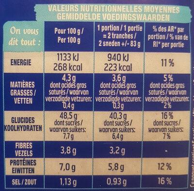 Pain 100% mie nature GT - Valori nutrizionali - fr