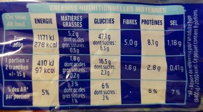 Pain Extra Moelleux nature sans sucres ajoutés - Voedingswaarden - fr