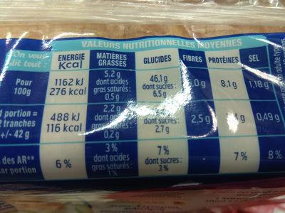 Harrys pain de mie sans sucres ajoutes extra moelleux nature - Nutrition facts