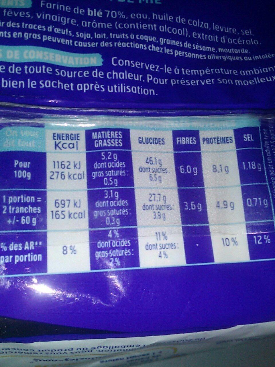 Pain EM nature sans sucres ajoutés - Voedingswaarden - fr