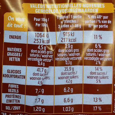 Pain de mie américan sandwich complet - Informazioni nutrizionali - fr