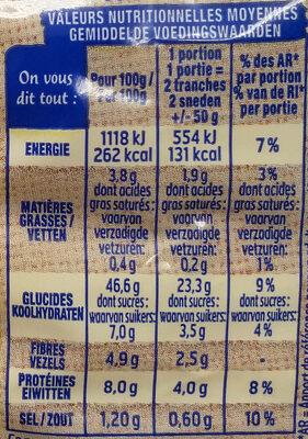 Harrys pain de mie bio sans croute 100% mie nature - Informations nutritionnelles - fr