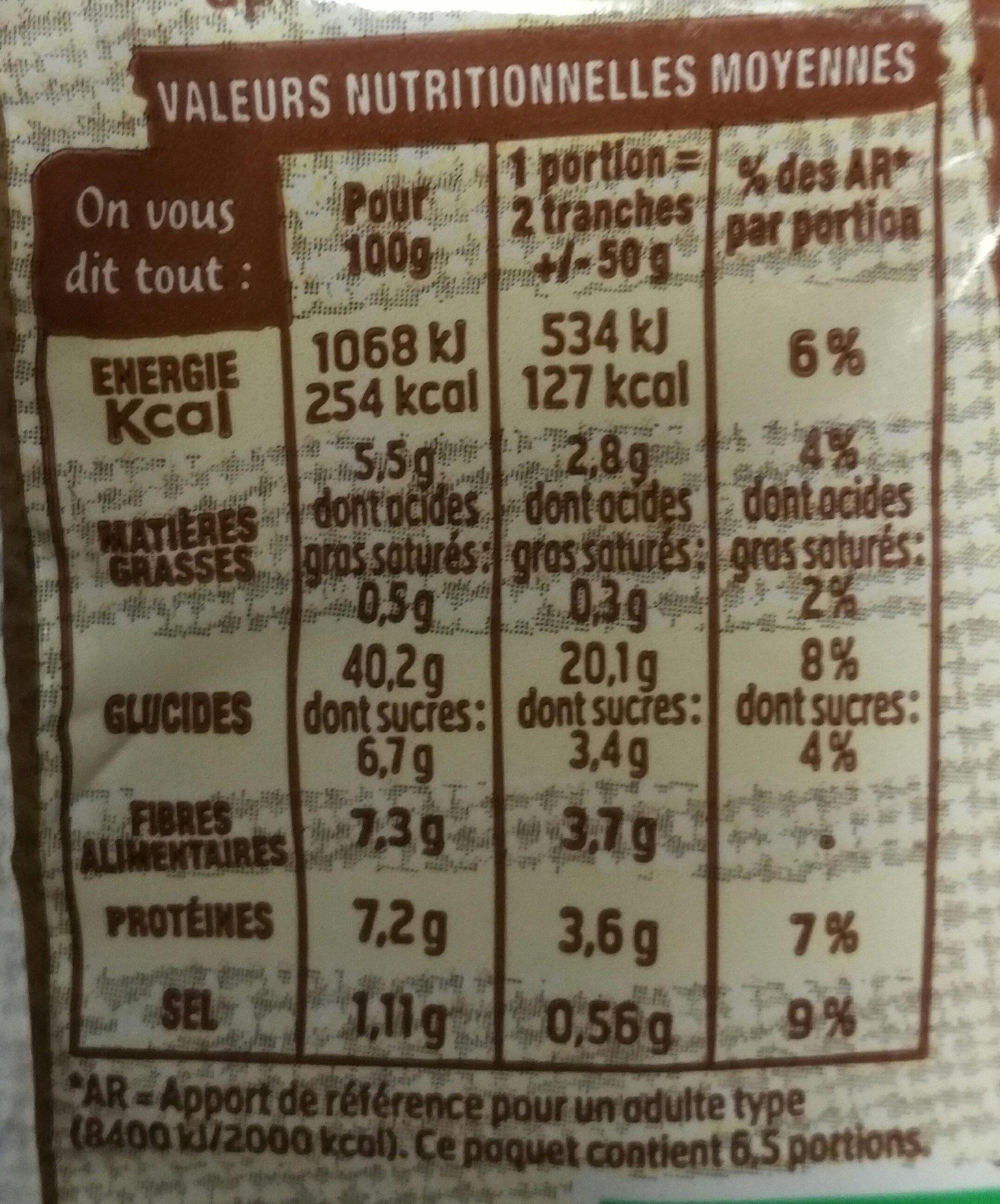 Bio 100% mie complet - Nutrition facts - en