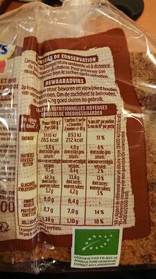 Harrys pain de mie bio complet american sandwich - Informations nutritionnelles - fr