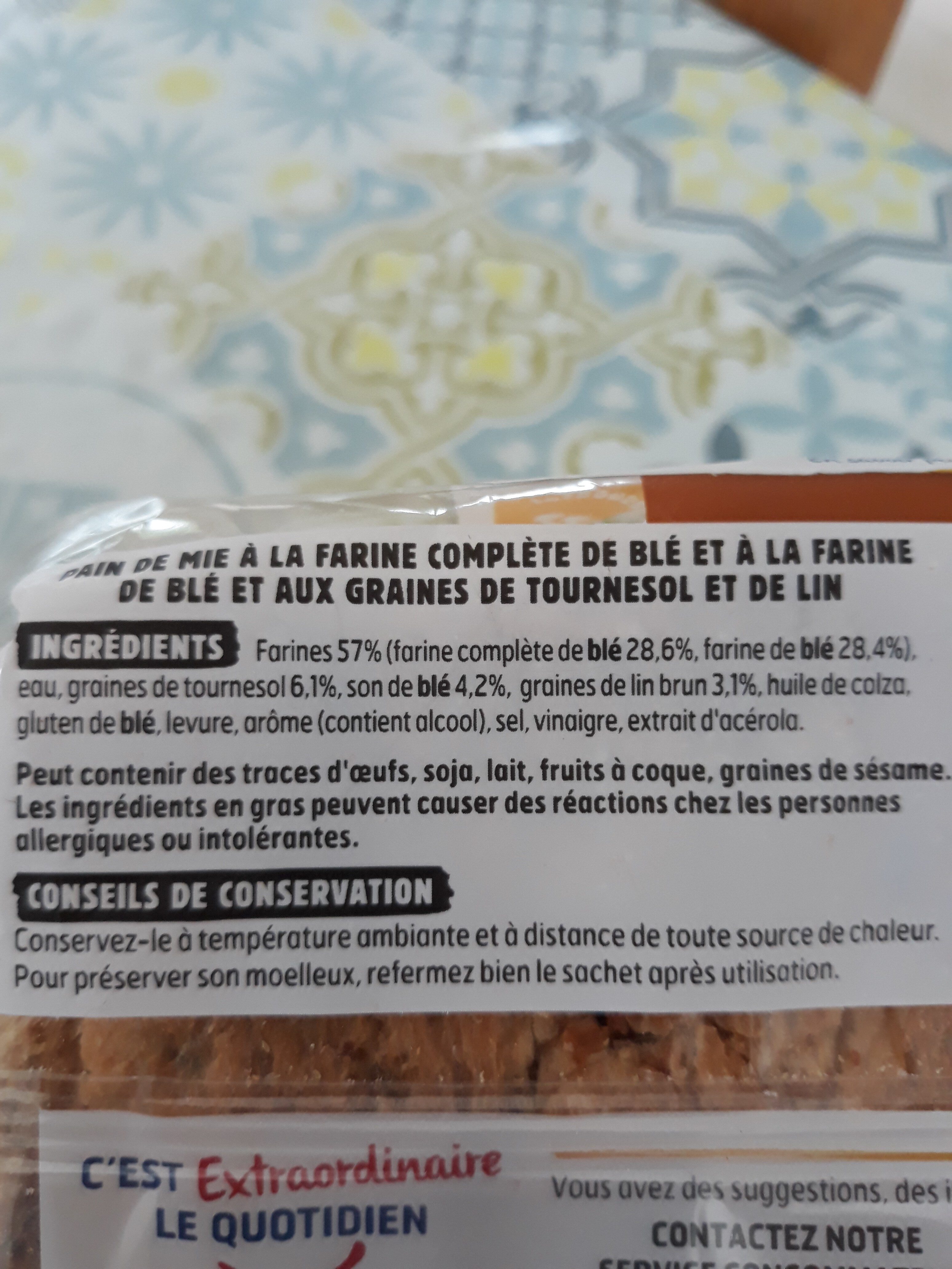 Beau & bon pain de mie complet lin tournesol - Ingredienti - fr