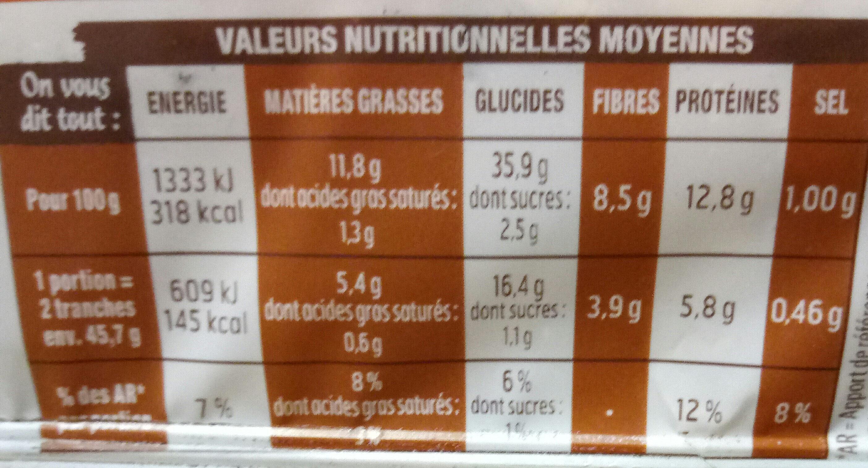 Beau & bon pain de mie complet lin tournesol - Valori nutrizionali - fr