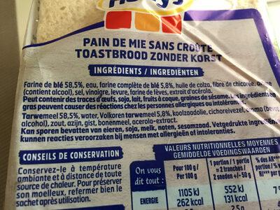 Pain 100% mie nat. ss sucre ajouté - Ingredients