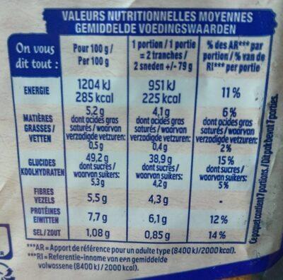 Pain AMS nature sans sucres ajoutés - Valori nutrizionali - fr