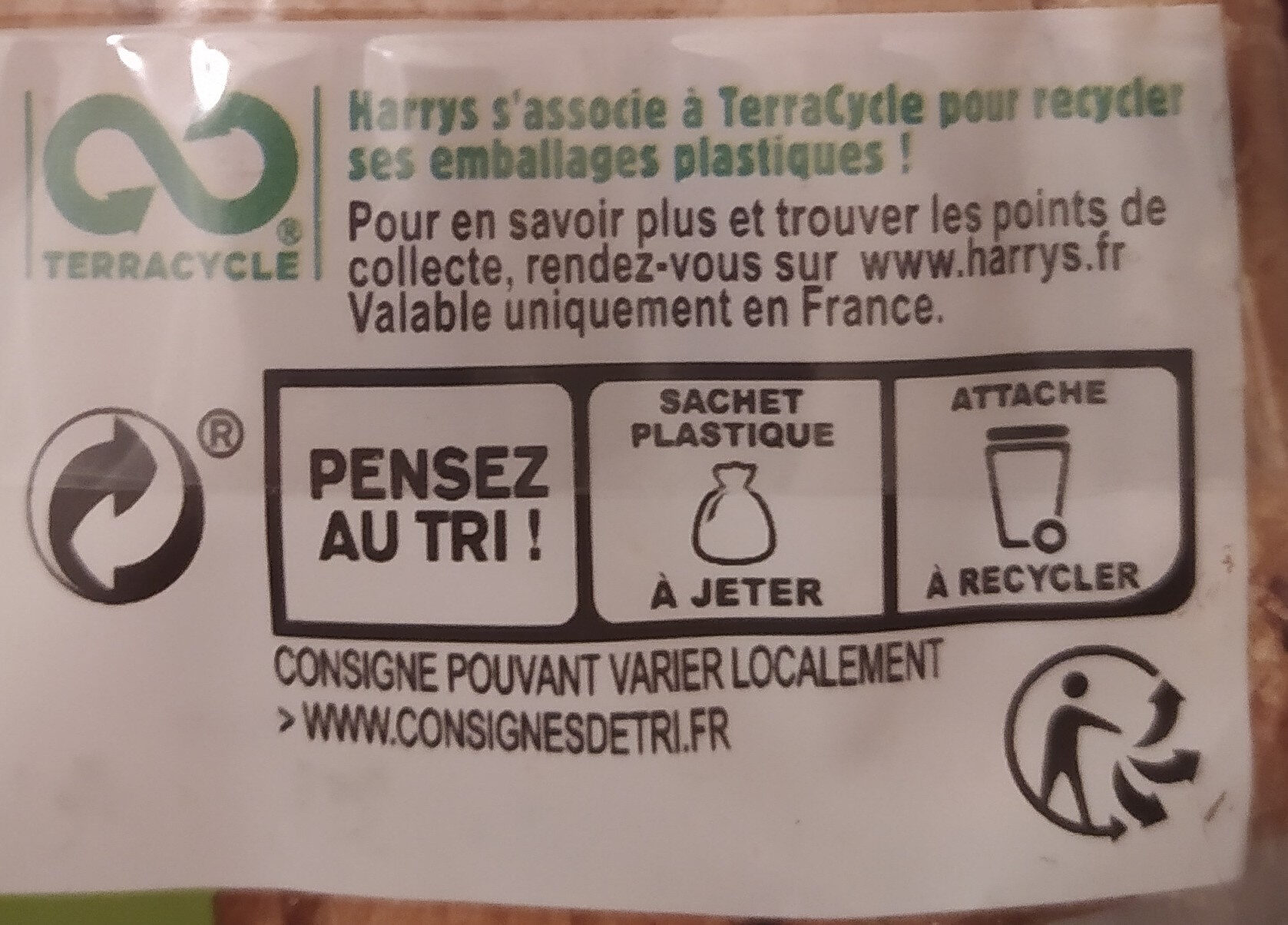 Beau & bon pain de mie farine de ble cereales & graines - Recycling instructions and/or packaging information - fr