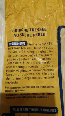 Harrys brioche tressee nature au sucre perle sans additifs - Ingredientes - fr