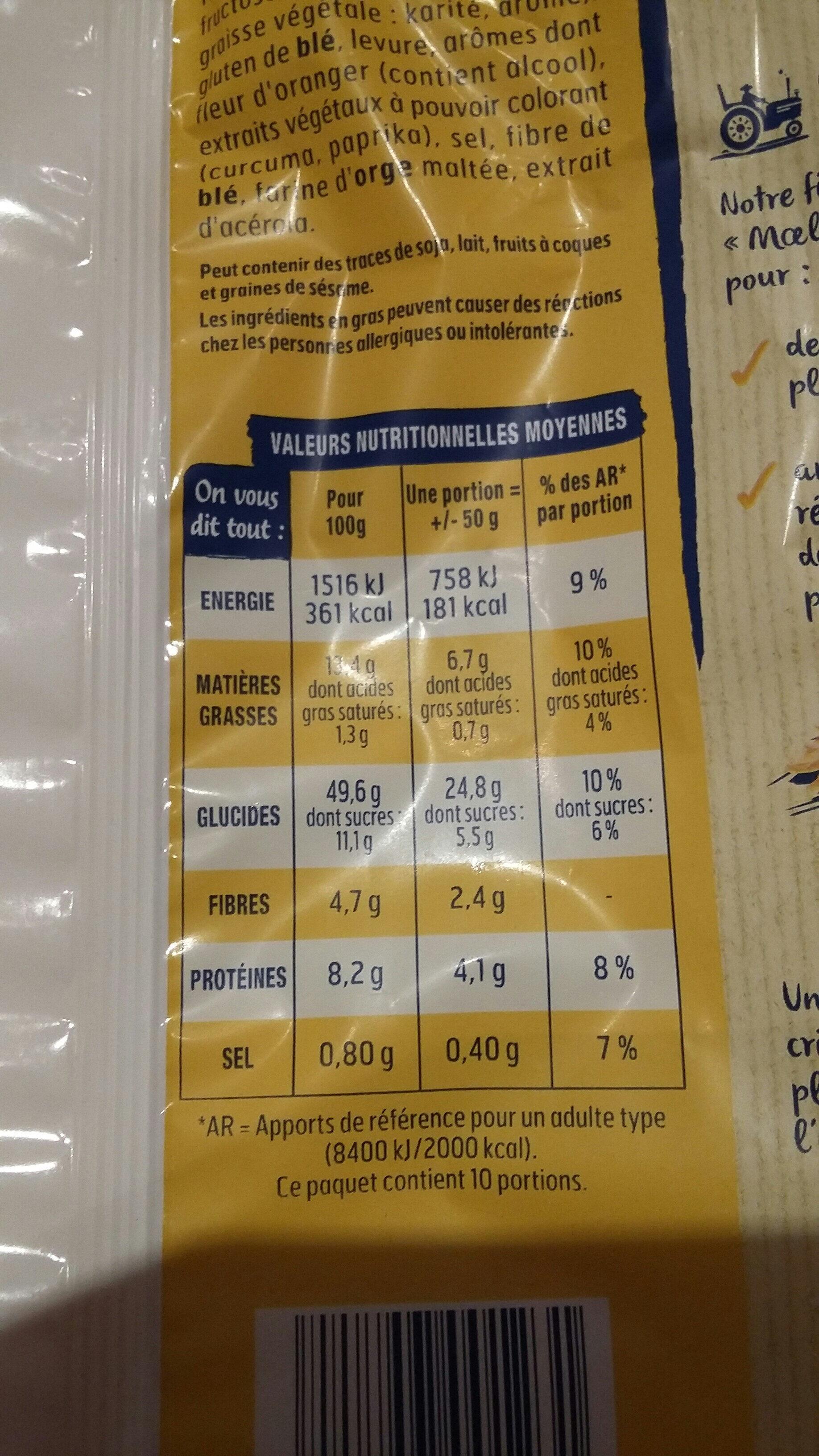 Harrys brioche tressee nature au sucre perle sans additifs - Informazioni nutrizionali - fr