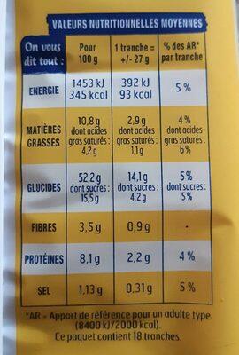 Brioche tranchée nature sans additifs - Voedingswaarden - fr