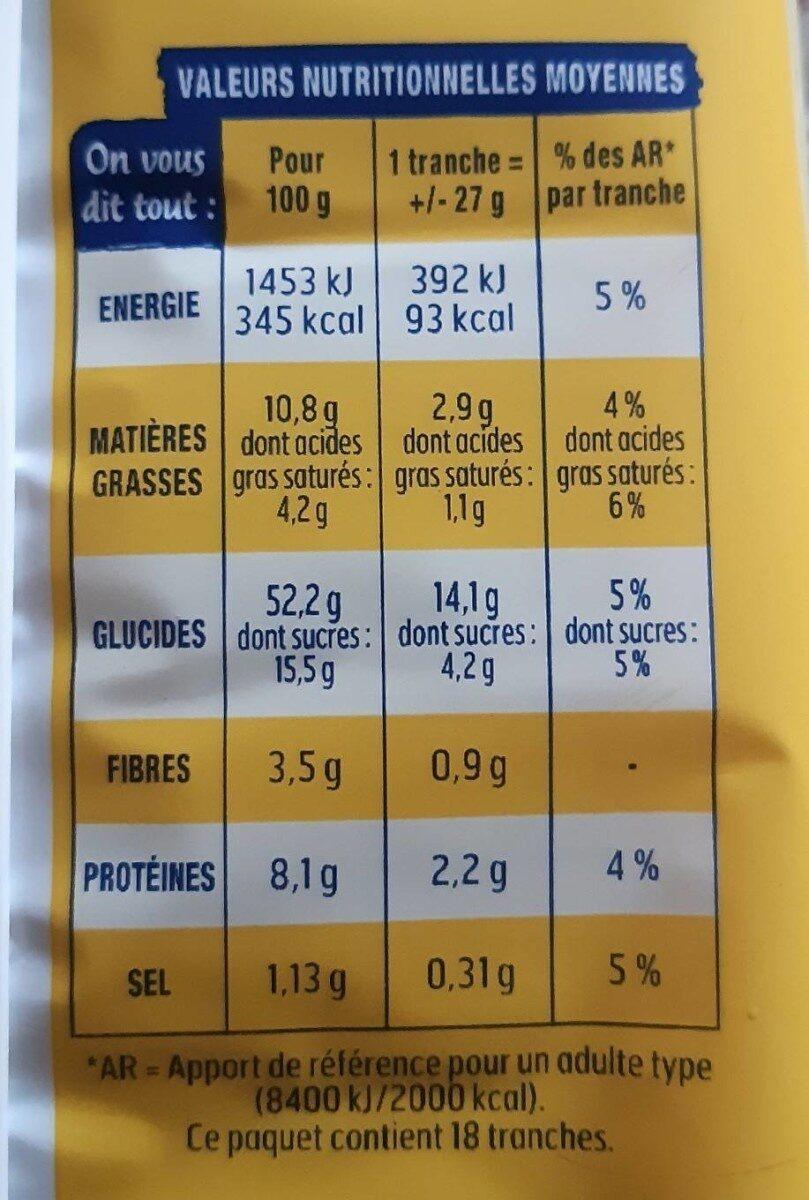 Brioche tranchée nature sans additifs - Nutrition facts - fr