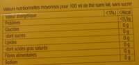 Yellow Label Tea - Informations nutritionnelles