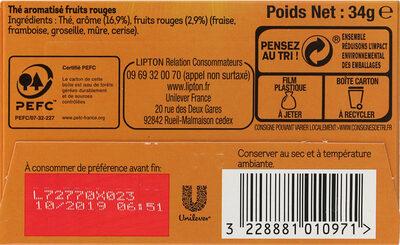 Lipton Thé 5 Fruits Rouges 20 Sachets - Ingredienti - fr