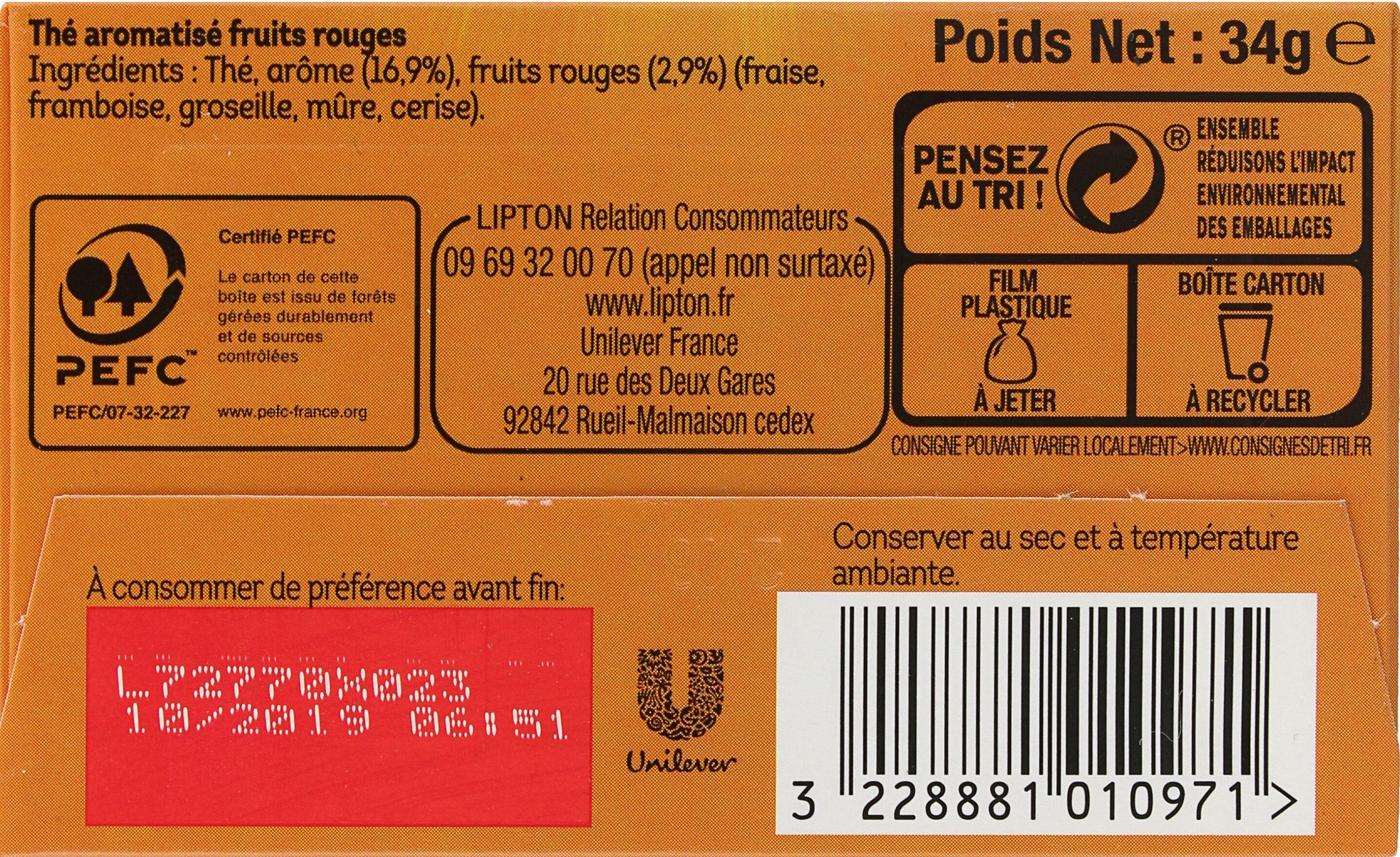 Lipton Thé 5 Fruits Rouges 20 Sachets - Ingrédients - fr