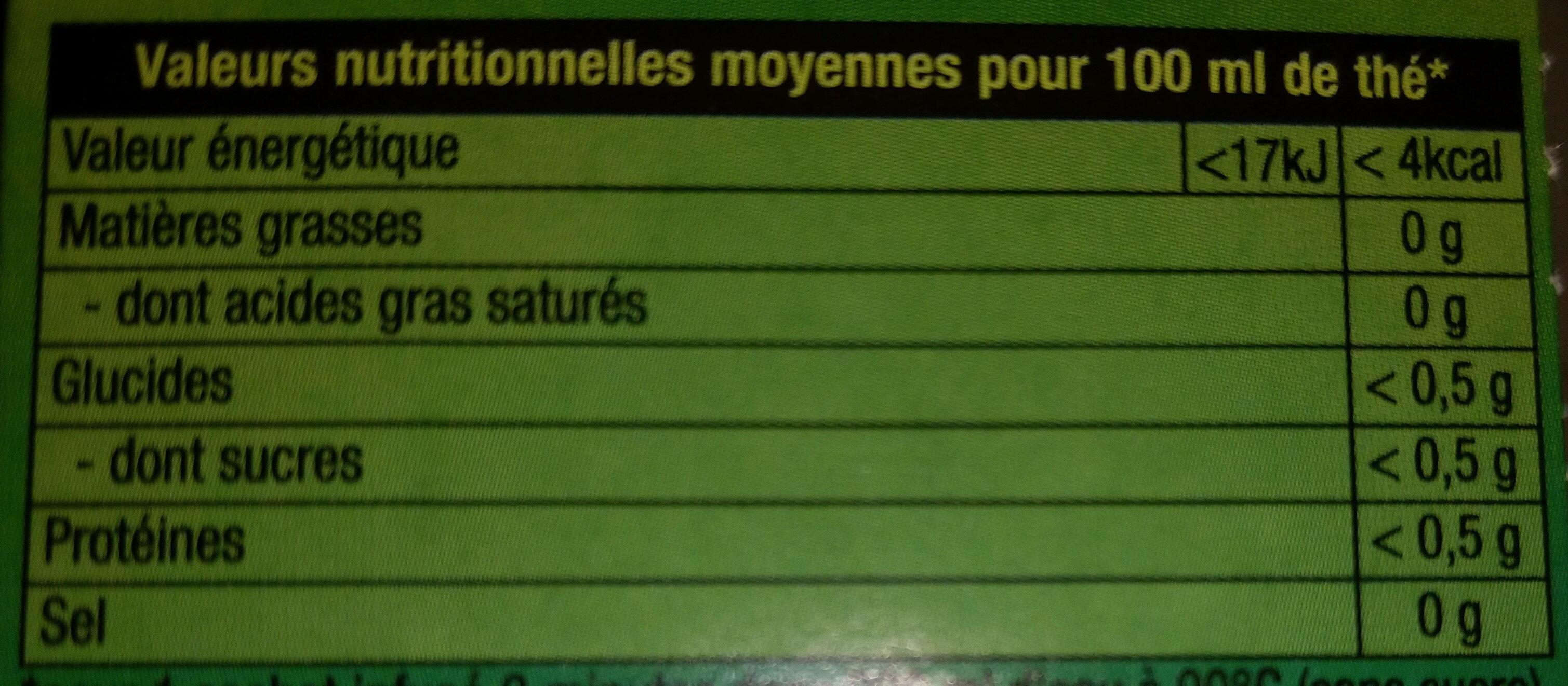 Lipton Thé Vert Menthe Intense 20 Sachets - Informazioni nutrizionali - fr
