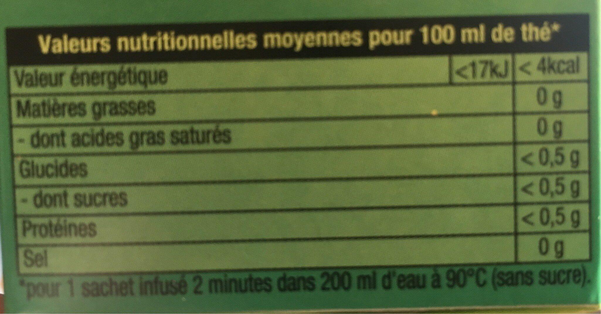 Lipton Thé Vert Menthe Intense 20 Sachets - Valori nutrizionali - fr