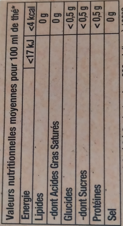 Lipton Thé Caramel 25 Sachets - Nutrition facts - fr