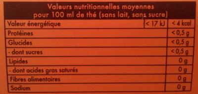 Thé Noir Caramel - Nutrition facts