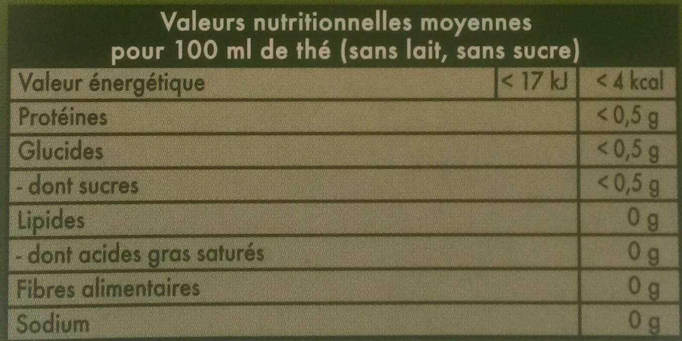 Thé Vert Marrakech Mint - Nutrition facts