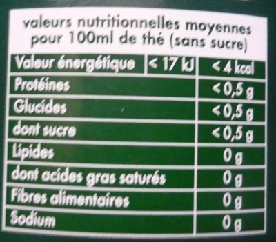 Lipton Tchaé Thé Vert Orient 25 Sachets - Nährwertangaben - fr