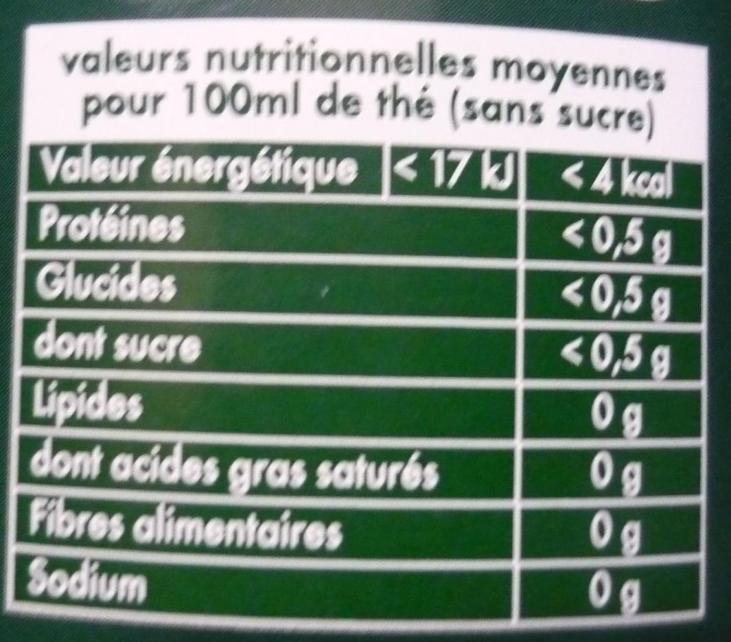 Thé vert d'Orient - Nutrition facts