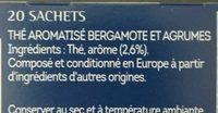 Lipton Thé Russian Earl Grey 20 Sachets - Ingredients - fr