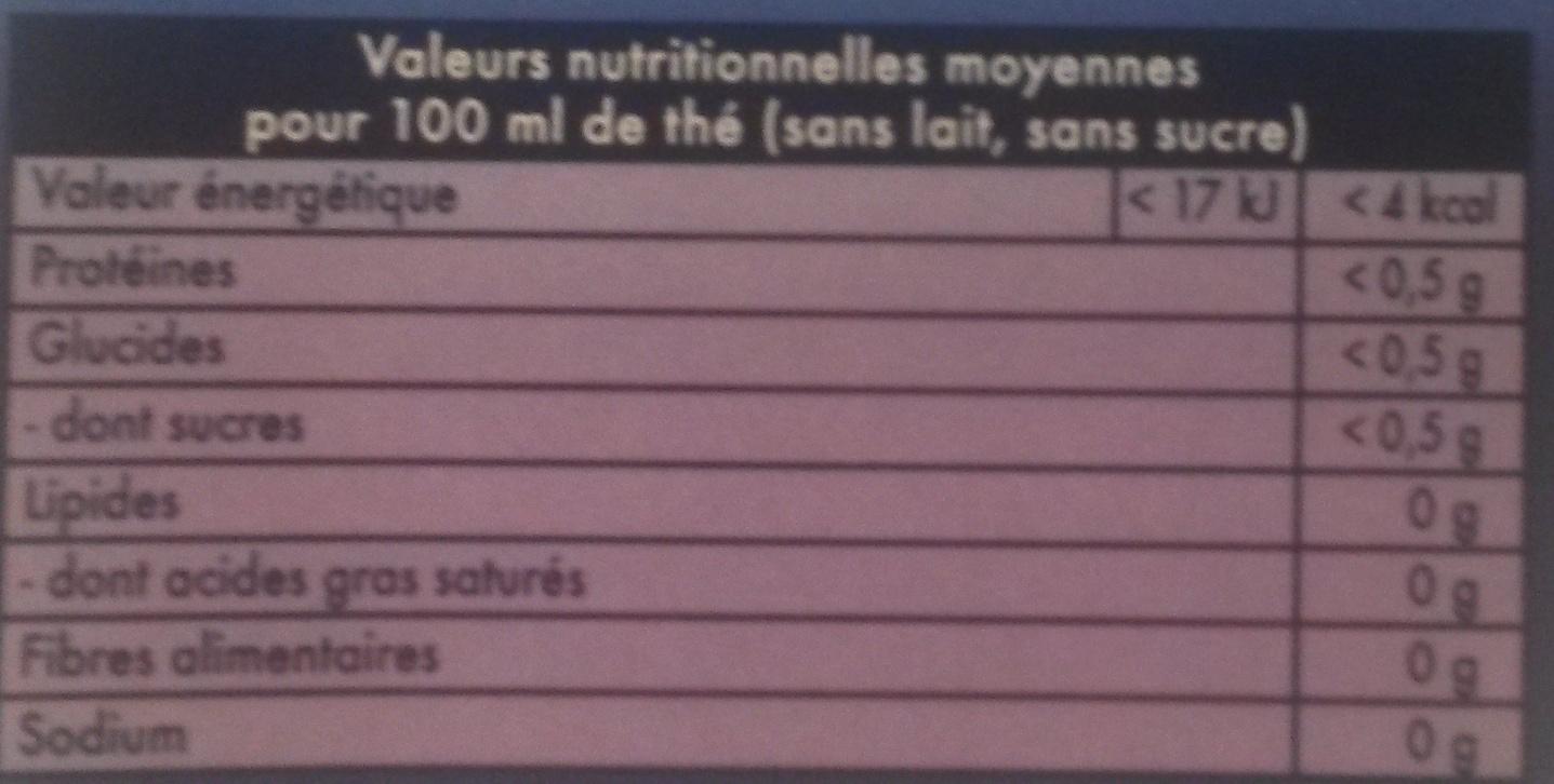 Lipton Thé Russian Earl Grey 20 Sachets - Nutrition facts - fr