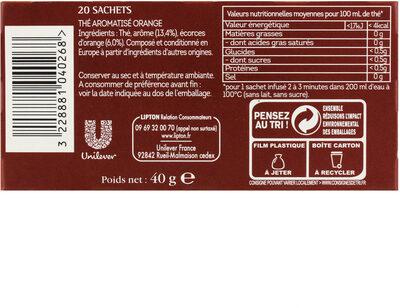 Lipton Thé Noir Orange Jaïpur 20 Sachets Mousseline - Voedingswaarden