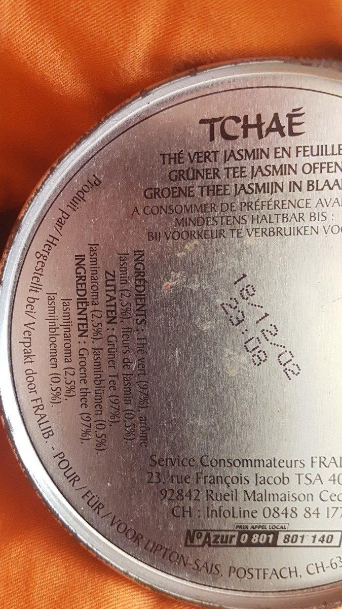 TCHAE Thé Vert Jasmin - Ingredients - fr