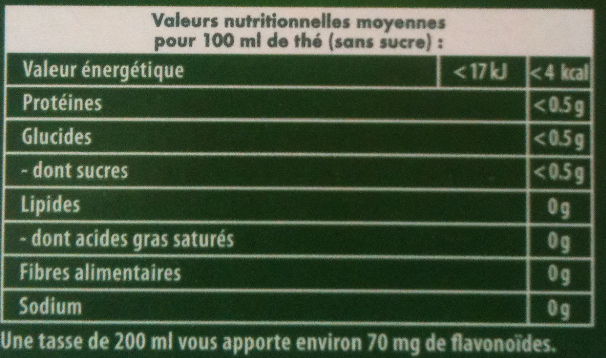 Thé vert citron - Voedingswaarden