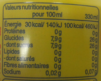 Liptonic - Informations nutritionnelles