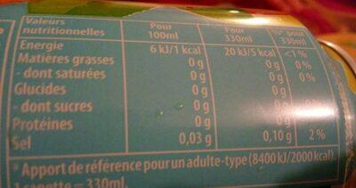 Lipton pêche zéro - Informations nutritionnelles - fr