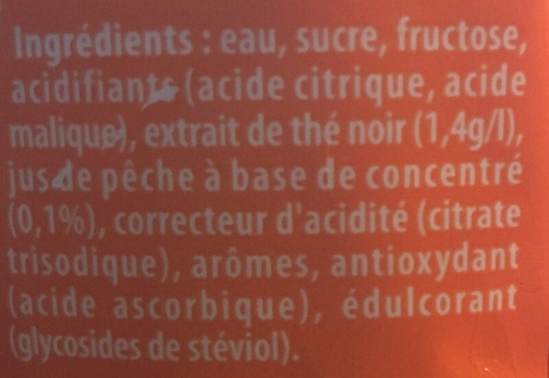 Ice Tea saveur Pêche - Ingrédients