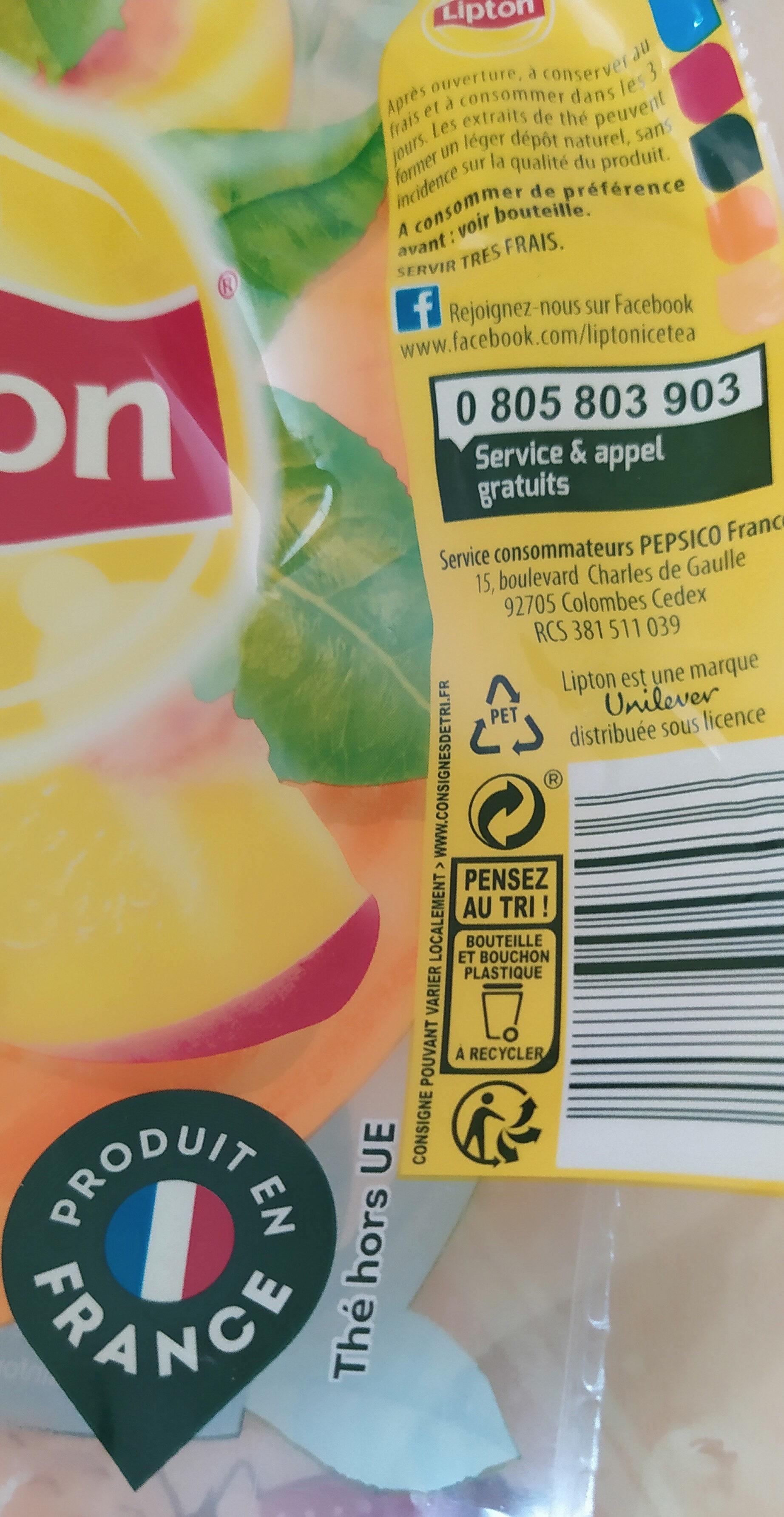 Lipton Ice Tea saveur Pêche - Instruction de recyclage et/ou informations d'emballage - fr