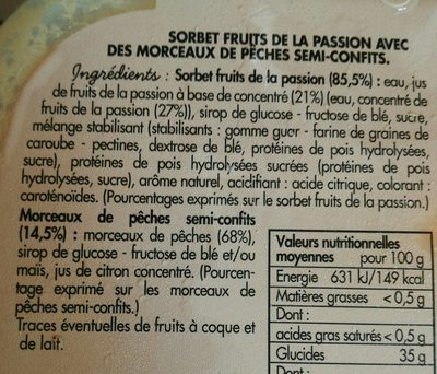Sorbet fruits de la passion - Ingredienti - fr