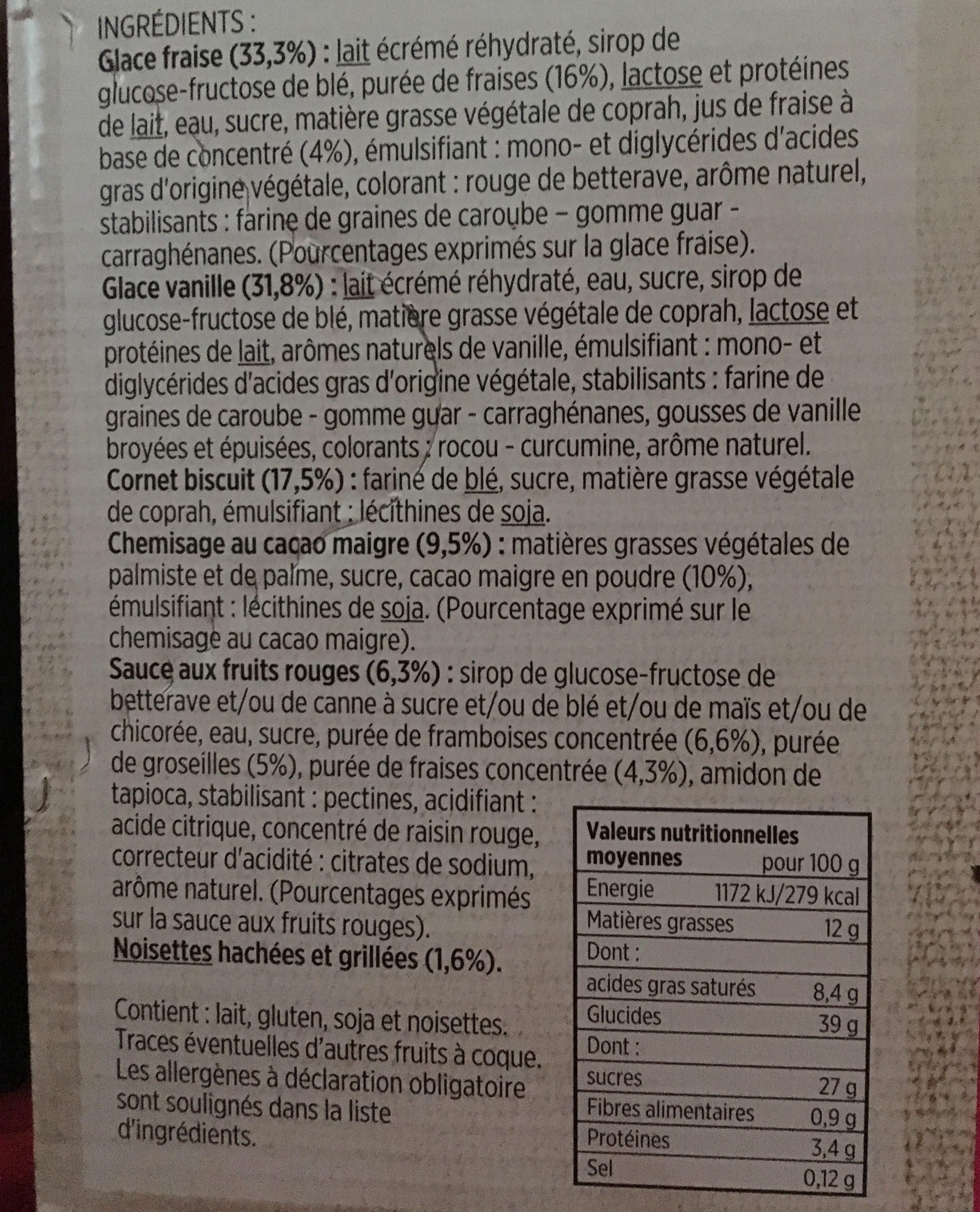 Cônes Vanille Fraise - Ingrediënten