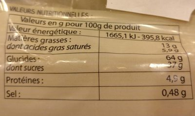Galette Charentaise - Informations nutritionnelles