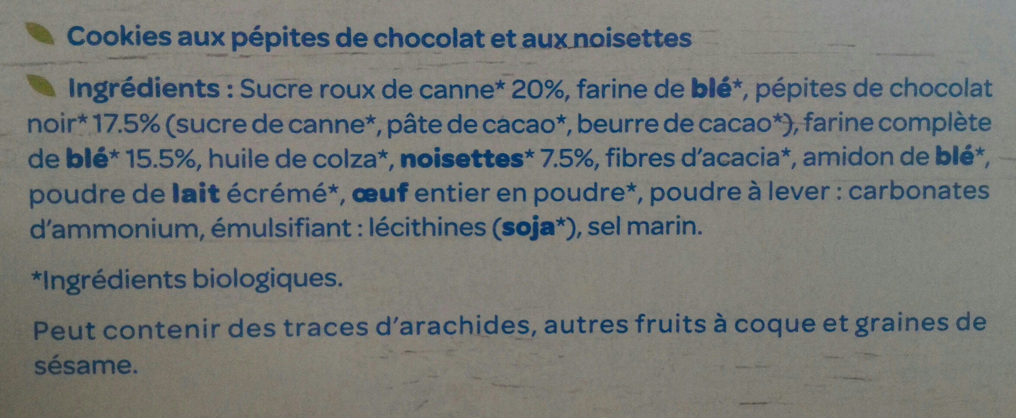 Le cookie chocolat noisettes - Ingredients
